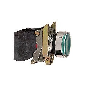 Bouton-poussoir lumineux vert - 24 V - 1O+1F