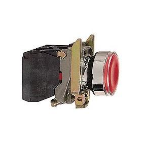 Bouton-poussoir lumineux rouge - 24 V - 1O+1F