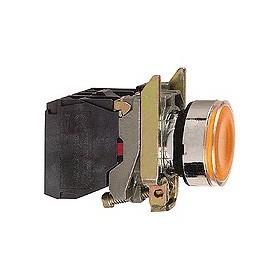 Bouton-poussoir lumineux orange - 24 V - 1O+1F