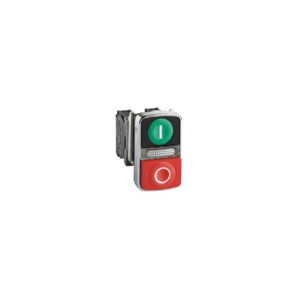 schneider xb4bw73731m5 bouton poussoir double touche vert rouge lum jaune 230v. Black Bedroom Furniture Sets. Home Design Ideas