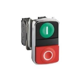 Bouton-poussoir double touche - vert + rouge- 1O+1F